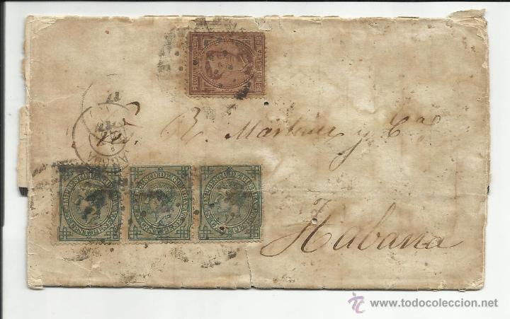 CIRCULADA 1877 DE GRANADA A LA HABANA CUBA VER FOTO (Sellos - España - Alfonso XII de 1.875 a 1.885 - Cartas)