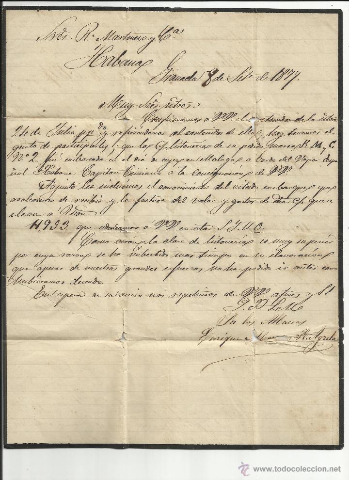 Sellos: circulada 1877 de granada a la habana cuba ver foto - Foto 2 - 46740929