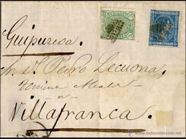 1875.- FRONTAL CON 2 SELLOS Nº154 Y 164, IMPTO. DE Gª. Y ALFONSO XII CON PARRILLA PEQUEÑA DE PUNTOS (Sellos - España - Alfonso XII de 1.875 a 1.885 - Cartas)