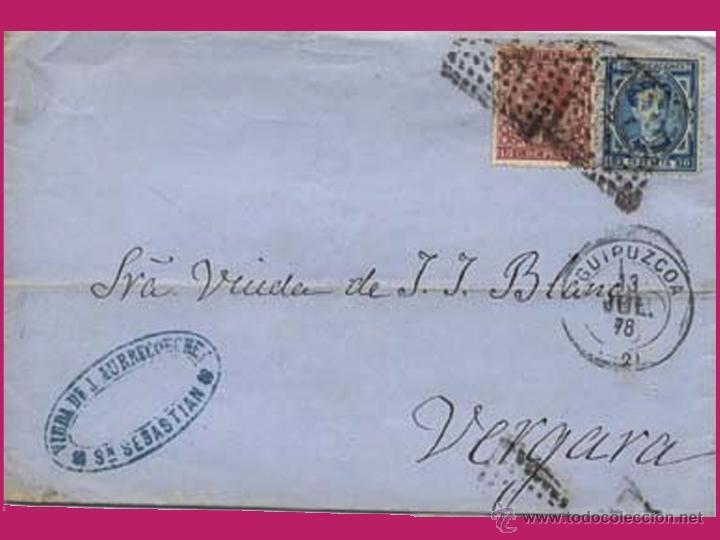 1878.-CARTA ENVUELTA BICOLOR CON Nº 175 Y 188 EDIFIL DE SAN SEBASTIAN A VERGARA Y MARCA COMERCIAL. (Sellos - España - Alfonso XII de 1.875 a 1.885 - Cartas)