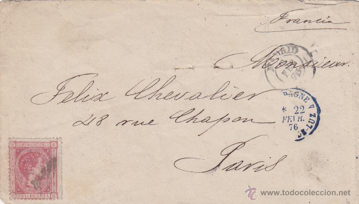 HISTORIA POSTAL : CARTA OBLIT ALFONSO XII Nº 166 ROSA 1875 MADRID / PARÍS- FRANCIA (Sellos - España - Alfonso XII de 1.875 a 1.885 - Cartas)