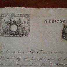 Sellos: 1877 CUENCA. SELLO DE LA SOCIEDAD DEL TIMBRE EN DOCUMENTO TIMBRADO SELLO 11º DOCUMENTO COMPRA VENTA. Lote 47408959