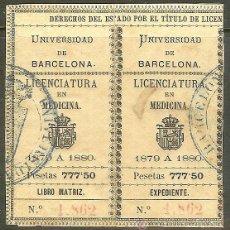 Sellos: FISCALES. TÍTULOS UNIVERSITARIOS. BARCELONA 1879 A 1880. LICENCIATURA EN MEDICINA. Lote 47666825