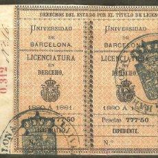 Sellos: FISCALES. TÍTULOS UNIVERSITARIOS. BARCELONA 1880 A 1881. LICENCIATURA EN DERECHO. Lote 47666849
