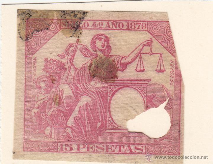 FISCAL - FISCALES : POLIZA 1879 , SELLO 4 . 15 PESETAS . USADO . IMPUESTO DE GUERRA (Sellos - España - Alfonso XII de 1.875 a 1.885 - Nuevos)