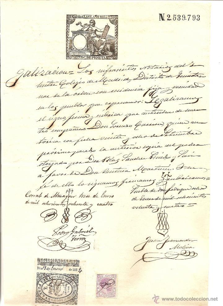 HOJA CON SELLO FISCAL 12ª CLASE AÑO 1884 DE 75 CENTIMOS CON TIMBRE MOVIL Y SELLO NOTARIAL DE MADRID (Sellos - España - Alfonso XII de 1.875 a 1.885 - Usados)