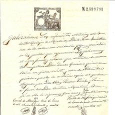 Sellos: HOJA CON SELLO FISCAL 12ª CLASE AÑO 1884 DE 75 CENTIMOS CON TIMBRE MOVIL Y SELLO NOTARIAL DE MADRID. Lote 48297944
