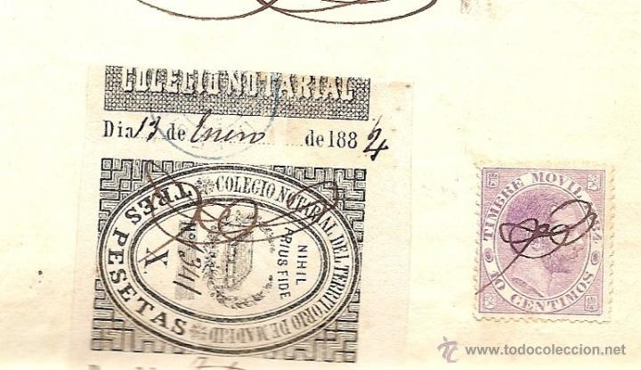 Sellos: HOJA CON SELLO FISCAL 12ª CLASE AÑO 1884 DE 75 CENTIMOS CON TIMBRE MOVIL Y SELLO NOTARIAL DE MADRID - Foto 3 - 48297944