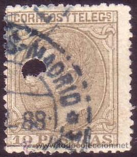 ESPAÑA. (CAT. 209T). 10 PTAS. TALADRO TELÉGRAFOS Y FECHADOR DE MADRID AZUL. MUY BONITO. (Sellos - España - Alfonso XII de 1.875 a 1.885 - Usados)