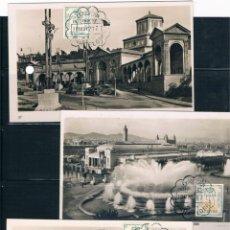 Sellos: ESPAÑA. TRES POSTALES DE LA EXPOSICIÓN INTERNACIONAL DE BARCEONA CON MATASELLO DE LA MISMA. Lote 48314145