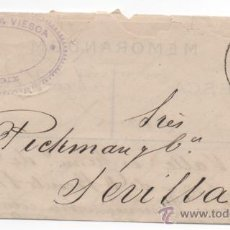 Sellos: CARTA MATASELLO PUENTE, CADIZ 1883, ALFONSO XII.. Lote 48340625