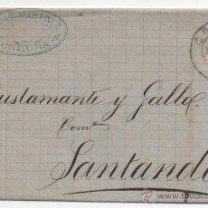 Sellos: CARTA MATASELLO PUENTE, CORUÑA 1882, ALFONSO XII.. Lote 48340762