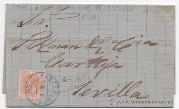 CARTA MATASELLO PUENTE AZUL, PONTEVEDRA 1883, ALFONSO XII. (Sellos - España - Alfonso XII de 1.875 a 1.885 - Cartas)