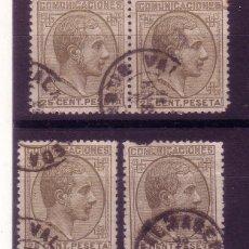 Selos: MM21- ALFONSO XII 25 CTS FECHADOR VALMASEDA (VIZCAYA). 4 SELLOS. Lote 48502379