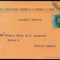 Francobolli: *** RARA TARJETA 1927 CON PERFORADO H (LIBRERIA HERNANDO) QUINTANA Y ARENAL MADRID ***. Lote 49920180