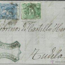 Timbres: ZARGOZA CC A TUDELA NAVARRA 1876 CON IMPUESTO DE GUERRA . Lote 50932991