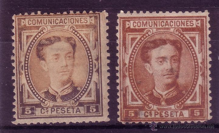 BB3-CLASICOS EDIFIL 174. DOS COLORES RAROS (Sellos - España - Alfonso XII de 1.875 a 1.885 - Nuevos)