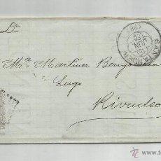 Timbres: CIRCULADA 1880 DE SANTANDER A RIVADEO CON MATATASELLO LLEGADA. Lote 51251994