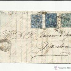 Sellos: CIRCULADA Y ESCRITA 1877 FABRICA D LENCERIA DE CALATAYUD ZARAGOZA A BARCELONA CON IMPUESTO DE GUERRA. Lote 51252450
