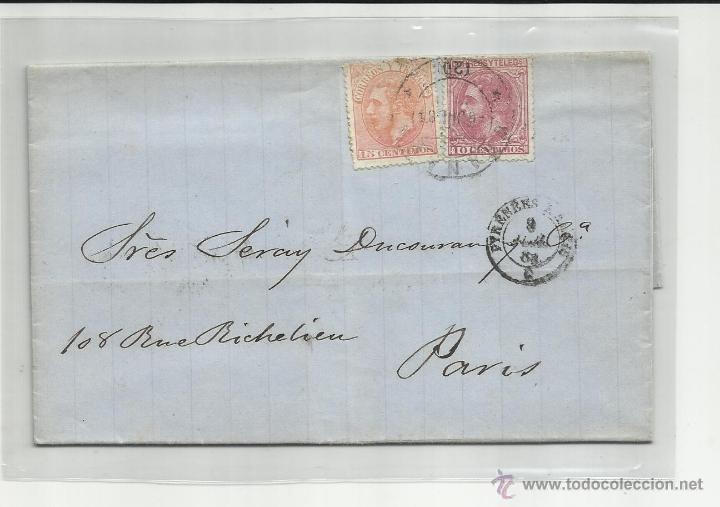 CIRCULADA Y ESCRITA 1884 DE GRANADA A PARIS CON FECHADOR LLEGADA CON FECHADOR DE LLEGADA (Sellos - España - Alfonso XII de 1.875 a 1.885 - Cartas)
