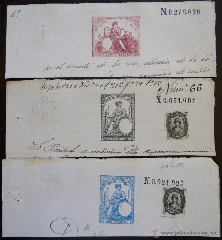 TRES SELLOS CLASICOS FISCALES 1876, 1876 Y 1880. ANTIGUOS SELLOS FISCALES TIMBROLOGIA FILATELIA FISC (Sellos - España - Alfonso XII de 1.875 a 1.885 - Usados)
