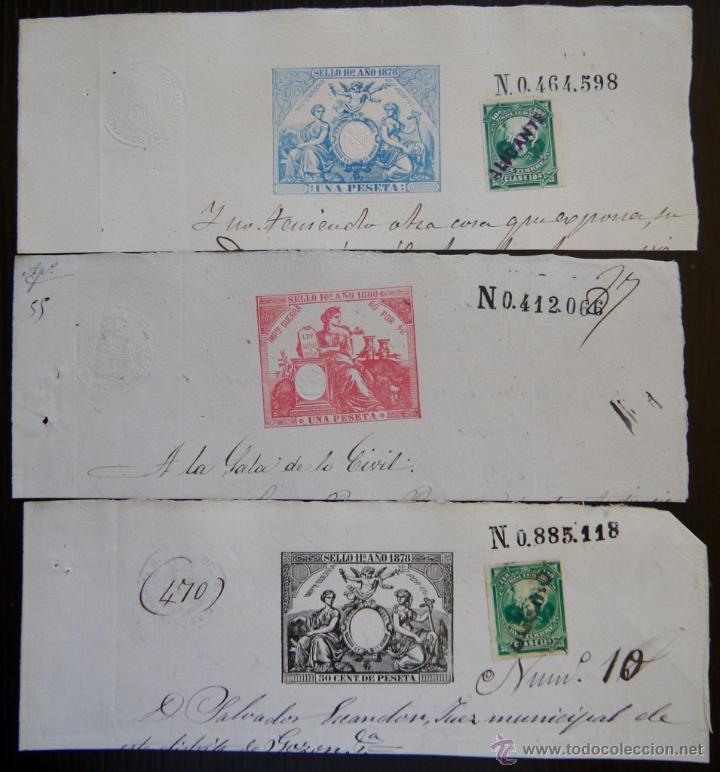 TRES SELLOS CLASICOS FISCALES 1878, 1880 Y 1880. ANTIGUOS SELLOS FISCALES TIMBROLOGIA FILATELIA FISC (Sellos - España - Alfonso XII de 1.875 a 1.885 - Usados)