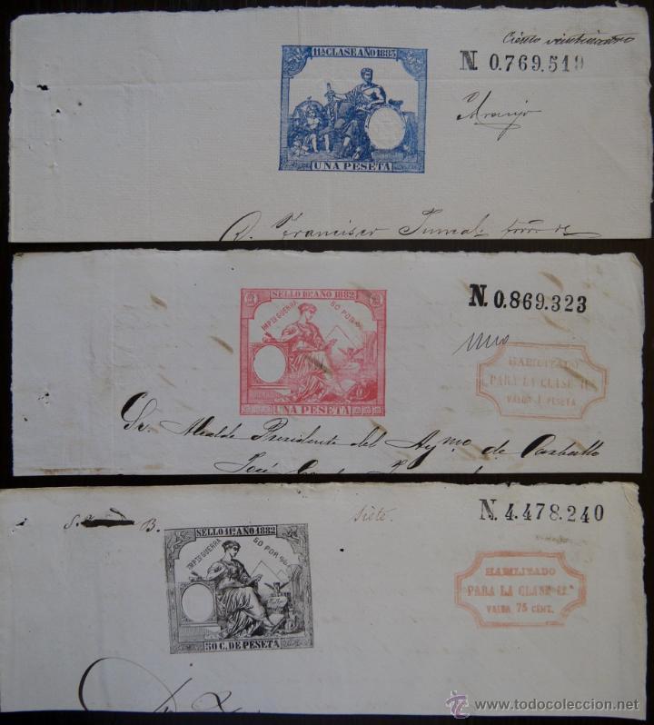 TRES SELLOS CLASICOS FISCALES 1882, 1882 Y 1883. ANTIGUOS SELLOS FISCALES TIMBROLOGIA FILATELIA FISC (Sellos - España - Alfonso XII de 1.875 a 1.885 - Usados)