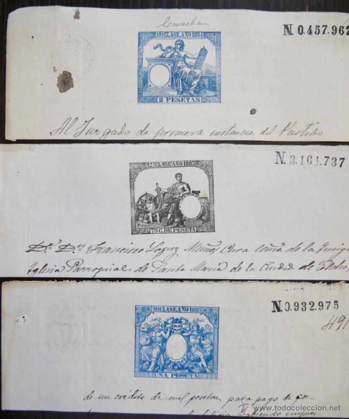 TRES SELLOS CLASICOS FISCALES 1883, 1884 Y 1885. ANTIGUOS SELLOS FISCALES TIMBROLOGIA FILATELIA FISC (Sellos - España - Alfonso XII de 1.875 a 1.885 - Usados)