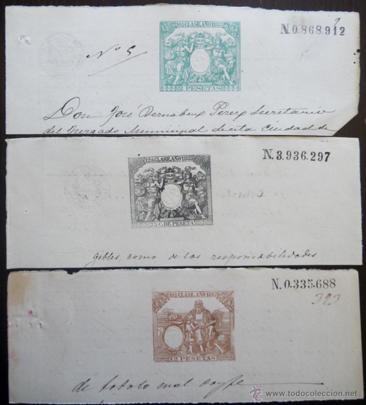 TRES SELLOS CLASICOS FISCALES 1885, 1885 Y 1887. ANTIGUOS SELLOS FISCALES TIMBROLOGIA FILATELIA FISC (Sellos - España - Alfonso XII de 1.875 a 1.885 - Usados)