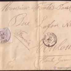 Sellos: ESPAÑA. (CAT. 204). 1882. SOBRE DE BURGOS A FRANCIA. 25 CTS. AL LADO * IRUN A BORDEAUX/A *.VER DORSO. Lote 52541293