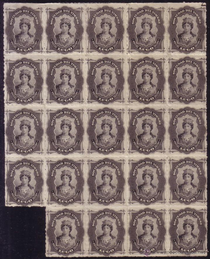 ESPAÑA. FISCAL. AÑO 1876. ** SOCIEDAD DEL TIMBRE/LUGO. GRAN BLOQUE DE 24. MUY RARO Y DE LUJO. (Sellos - España - Alfonso XII de 1.875 a 1.885 - Nuevos)