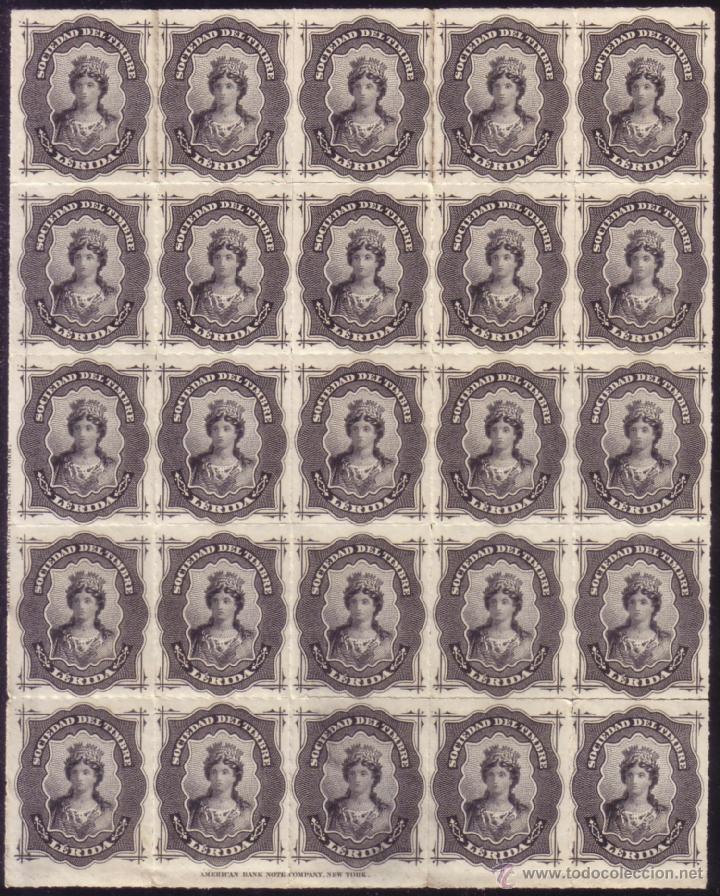ESPAÑA. FISCAL. AÑO 1876. ** SOCIEDAD DEL TIMBRE/LÉRIDA. GRAN BLOQUE DE 25. MUY RARO Y DE LUJO. (Sellos - España - Alfonso XII de 1.875 a 1.885 - Nuevos)