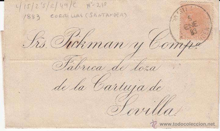 CARTA DE COMILLAS-SANTANDER- CON DESTINO SEVILLA 1883 (Sellos - España - Alfonso XII de 1.875 a 1.885 - Cartas)