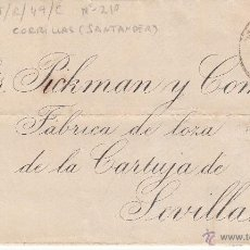 Sellos: CARTA DE COMILLAS-SANTANDER- CON DESTINO SEVILLA 1883. Lote 53454737