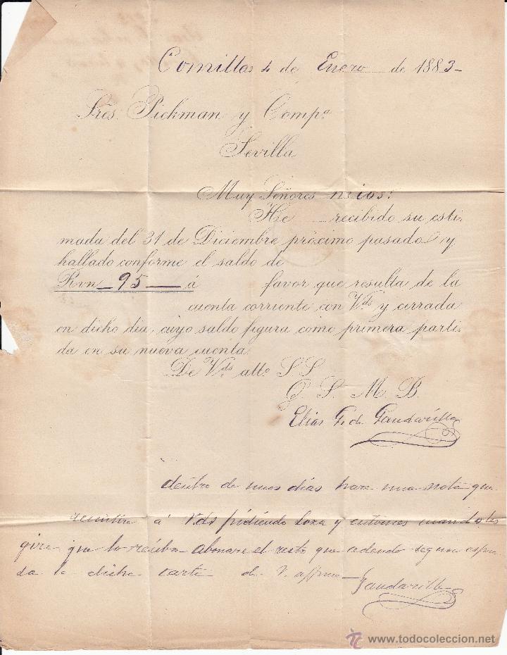 Sellos: CARTA DE COMILLAS-SANTANDER- CON DESTINO SEVILLA 1883 - Foto 2 - 53454737