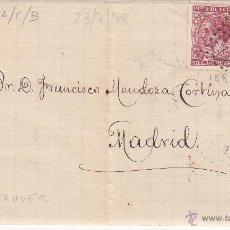 Sellos: CARTA ENTERA NUMS.188 Y 192 DE E DE ABARCA DE SANTANDER A MADRID 1878 - MATASELLOS ROMBO DE PUNTOS . Lote 53592503