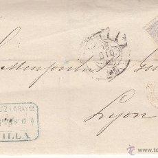 Sellos: ENVUELTA NUM. 204 DE ALONSO RUIZ DE SEVILLA A FRANCIA 1880 -ROMBO DE PUNTOS MATASELLOS TRÉBOL-RARO. Lote 53596153