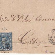 Sellos: ENVUELTA SELLOS NUMS. 175 Y 183 1877 DE CONSTANTINA-SEVILLA- A CÁDIZ. Lote 53601804