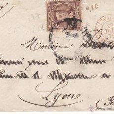 Sellos: SOBRE CON SELLO NUM. 177 CON DESTINO LION-FRANCIA- VER IMAGEN.--1876---FECHADOR AMB. ESPAGNE. Lote 54054693