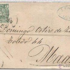 Timbres: ALFONSO XII LINARES JAEN CC A MADRID CON IMPUESTO DE GUERRA 1873. Lote 54396704