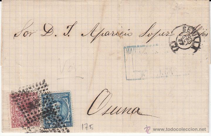 CARTA COMPLETA CON SELLOS NUMS. 175 Y 188 DE MARTINEZ LOMBARDO DE SEVILLA A OSUNA --1877---MAT.ROMBO (Sellos - España - Alfonso XII de 1.875 a 1.885 - Cartas)