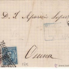 Francobolli: CARTA COMPLETA CON SELLOS NUMS. 175 Y 188 DE MARTINEZ LOMBARDO DE SEVILLA A OSUNA --1877---MAT.ROMBO. Lote 54521647