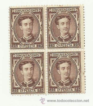 BONITO BLOQUE DE CUATRO DEL Nº 177 DE ESPAÑA DE 1876 ALFONSO XII GOMA ORIGINAL LOS DOS DE ABAJO (Sellos - España - Alfonso XII de 1.875 a 1.885 - Nuevos)