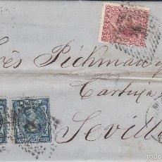 Sellos: CARTA DE MADRID A SEVILLA .EDIFIL 175 (DOS SELLOS) Y 188. MATº ROMBO DE PUNTOS.Y FECHADOR MADRID.. Lote 55325547