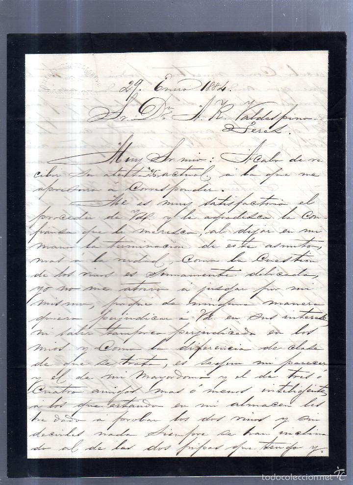 CIRCULAR PUBLICITARIA. PLADELLORENS. DE BARCELONA A JEREZ. 1894. CON SELLO. VER (Sellos - España - Alfonso XII de 1.875 a 1.885 - Cartas)