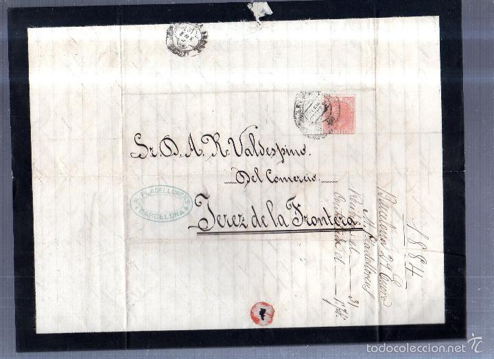 Sellos: CIRCULAR PUBLICITARIA. PLADELLORENS. DE BARCELONA A JEREZ. 1894. CON SELLO. VER - Foto 3 - 56777842