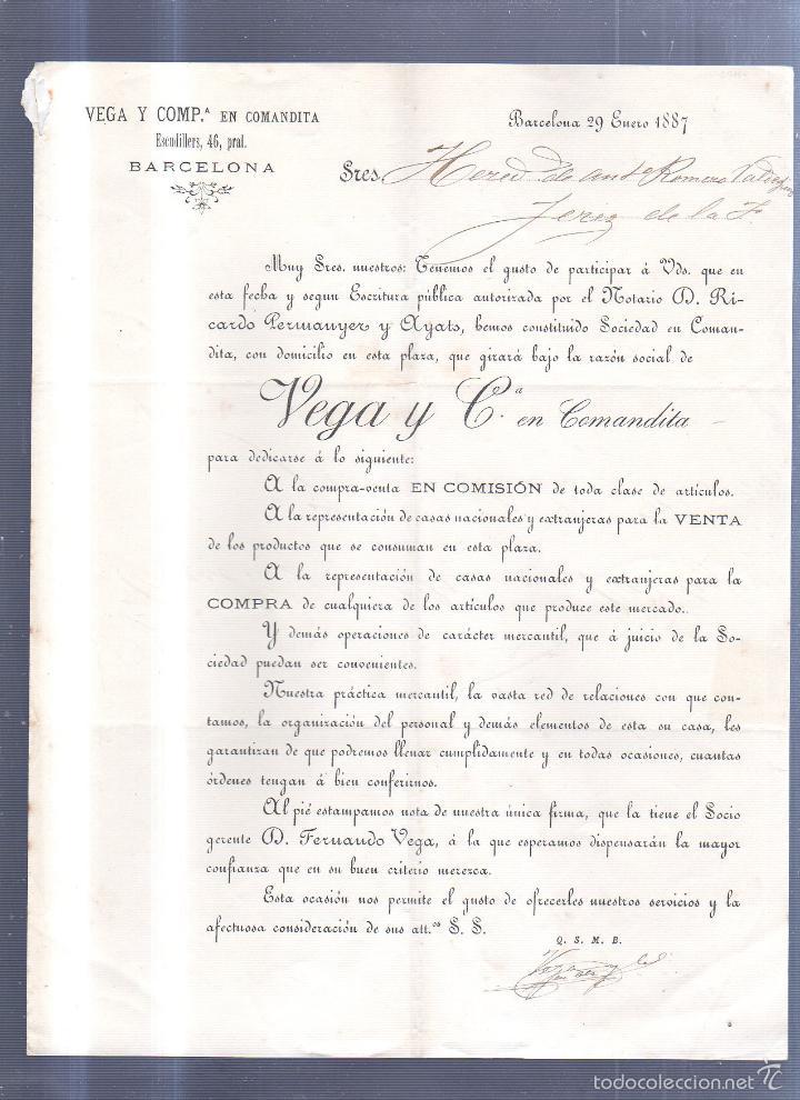 CIRCULAR PUBLICITARIA. VEGA Y COMPª EN COMANDITA. DE BARCELONA A JEREZ. 1887. CON SELLO. VER (Sellos - España - Alfonso XII de 1.875 a 1.885 - Cartas)