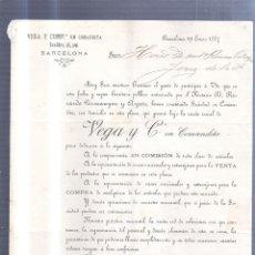 Sellos: CIRCULAR PUBLICITARIA. VEGA Y COMPª EN COMANDITA. DE BARCELONA A JEREZ. 1887. CON SELLO. VER. Lote 56778132