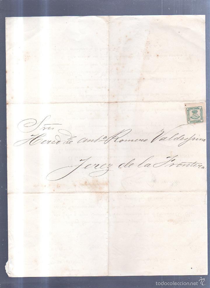 Sellos: CIRCULAR PUBLICITARIA. VEGA Y COMPª EN COMANDITA. DE BARCELONA A JEREZ. 1887. CON SELLO. VER - Foto 2 - 56778132