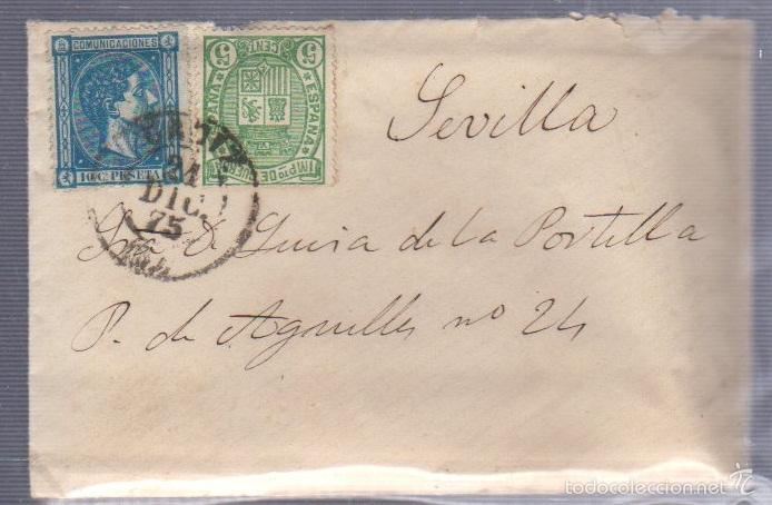 CARTA DIRIGIDA DE CADIZ A SEVILLA. VER SELLO (Sellos - España - Alfonso XII de 1.875 a 1.885 - Cartas)